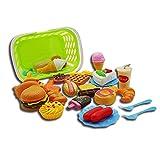 ZANTEC Giocattolo Bambini Plastica Fast Food Playset Mini Hamburg Patatine fritte Hot Dog Ice Cream Cola Cibo giocattolo per bambini Finta di giocare Regalo per i bambini