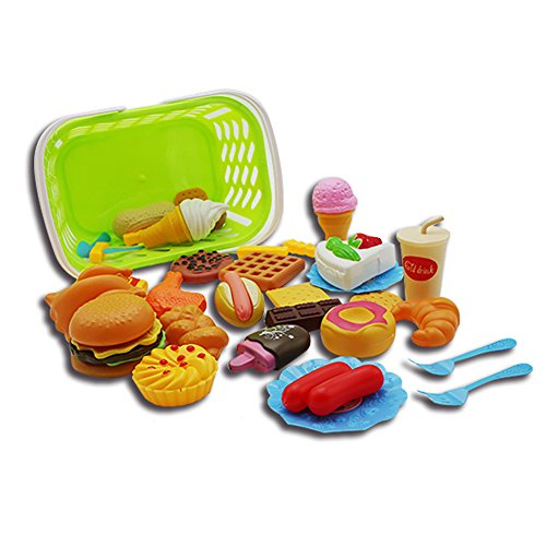 Etbotu Plastik Fast Food Playset Mini Hamburg Französisch Fries Hot Dog Eiscreme Cola Essen Spielzeug für Kinder Pretend Spiel Geschenk für Kinder (Hot-dog-toy-essen)