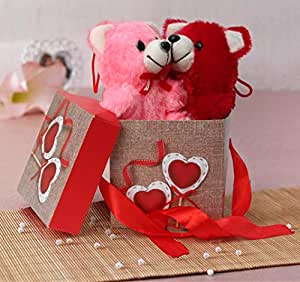 TIED RIBBONS Valentines Day Best Gifts Pack for Boyfriend, Girlfriend, Wife, Husband Combo(Gift Box with Ribbon, 2 Small Teddy)