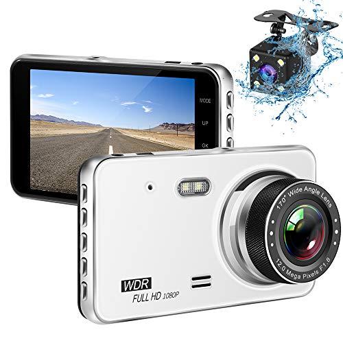 Dashcam Vorne und Hinten Dual AutoKamera, 4 Zoll IPS 1080P Full HD 170° Weitwinkel Vorne Kamera mit Nachtsicht, WDR, G-Sensor, Loop Aufnahme, Bewegungserkennung, Parküberwachung