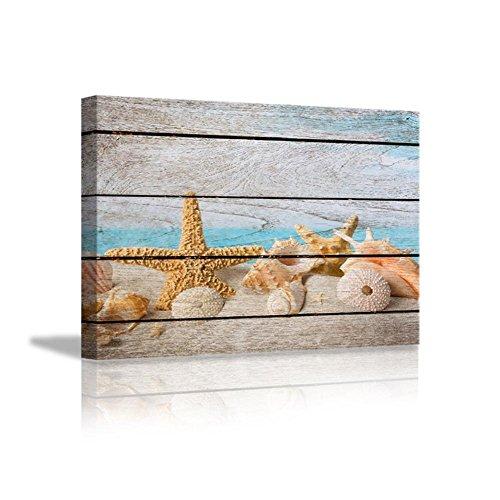 YYH Toile de peinture Modern Restaurant Inn Decoration Starfish Murals Texture de bois de simulation Cadre intérieur