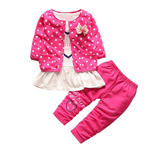 Hunpta Kinder Baby Mädchen Outfit Kleidung Dot Bowknot Strickjacke Mantel + T-Shirt + lange Hosen 1Set (100/110CM, Hot Pink)