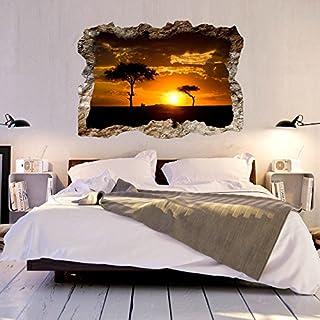 murando - 3D WANDILLUSION 140x100 cm Wandbild - Fototapete - Poster XXL - Loch 3D - Vlies Leinwand - Panorama Bilder - Dekoration - Landschaft Afrika Sonnenuntergang c-B-0226-t-a
