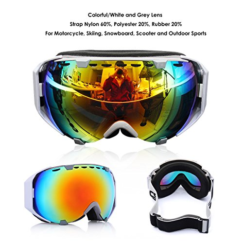 Audew Ski Lunettes Masques de Protection Snowboard Goggle UV400 Double Lentille Sphérique Moto Hiver Sporting Coloré et Coloré/Blanc et Gris