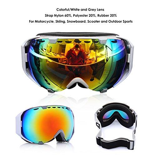 Audew Maschere Sci Snowboard Occhiali Ski Snowboard Goggle Moto Anti Fog UV 400