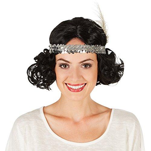 rücke Charlston mit Kopfband   Traumhafte Lockenpracht   Inkl. Pailletten-Haarband und Feder (50er Jahre Frisuren Für Männer)