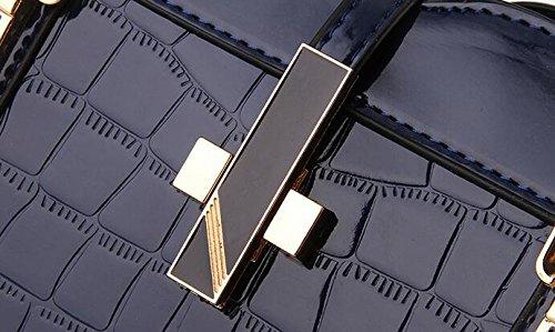 Modello del Coccodrillo Borsetta per le Donne signore - Pelle Luminoso Brevetto / Borsa a tracolla di alta qualità / Europeo e Americano Stile Borsetta / Classico e Funzionale Tote - Kaki Blu scuro