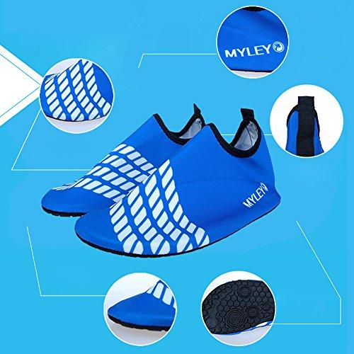 Kasit Unisex Barfuß Wasser-Haut-Schuhe für Strand-Schwimmen Surf Yoga-Übung Blau