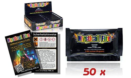 MYSTICAL FIRE, buntes Feuer, farbige Flammen, für Holzfeuer in Kamin oder Feuerschale, 50 Päckchen