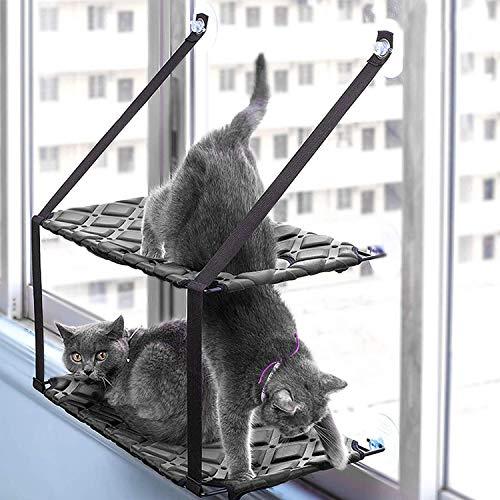 Fenster Hängematte Doppelschicht, Haustier Heizkörper Sonnenliege, Niedlichen Haustier Katze Bett, Abnehmbare Waschbar Saugnapf, Hängen Katze Bett: 75 * 33 * 59 cm ()
