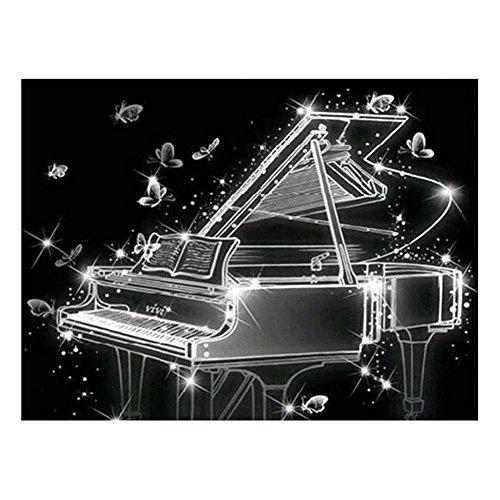 e Schmetterlinge Klavier Kunst 5D Diamant Malerei DIY Hand Handwerk Dekor Geschenk ()