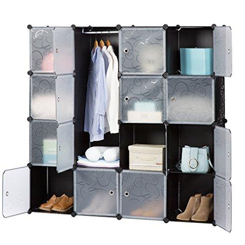 LANGRIA Stufenregal 16-Kubus Regalsystem Kleiderschrank Garderobenschrank für Kleidung, Schuhe, Spielzeug und Bücher