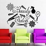 ONETOTOP Salon de beauté Mobilier Coiffeur Sticker Coiffure Salon de beauté Ameublement d'intérieur Vinyle Make Up Stickers Muraux 78 * 57 cm...