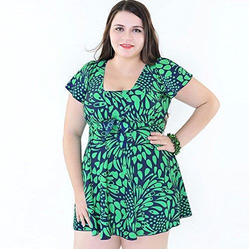 Mme summer maillot de bain grand angle plat fendu de timbres de l'ouest style jupe maillots de-YU&XIN Green