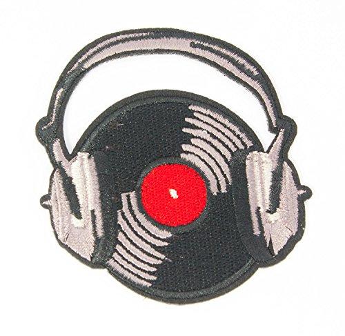 Retro-dampf-bügeleisen (MissBirdler Retro DJ Vinyl Schallplatte mit Kopfhörer Aufbügler Jeans Stoff Kleidung Applikation Bügelbild Patch DIY für Textilien 8 x 5,3 cm)