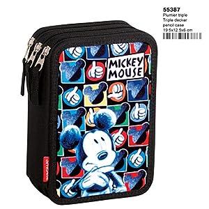 Montichelvo Mickey Mouse Hands – Plumier de Triple Compartimento 45 Piezas, Estuche (Perona 55387)