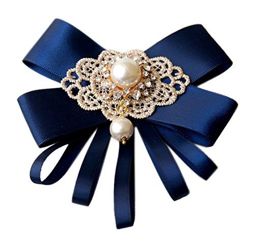 Cheerlife Schleife Fliege Brosche Korsage Schleifenbrosche Anstecknadel Pin seidenband satin für damen kleidung mit perlen Strass Navy -