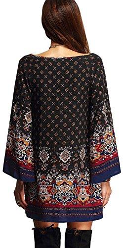 ASCHOEN Damen Minikleid Bohemian Vintage Blumen Rundhals Lose Strand Tunika kleid Bluse Kleider Abbildung 3