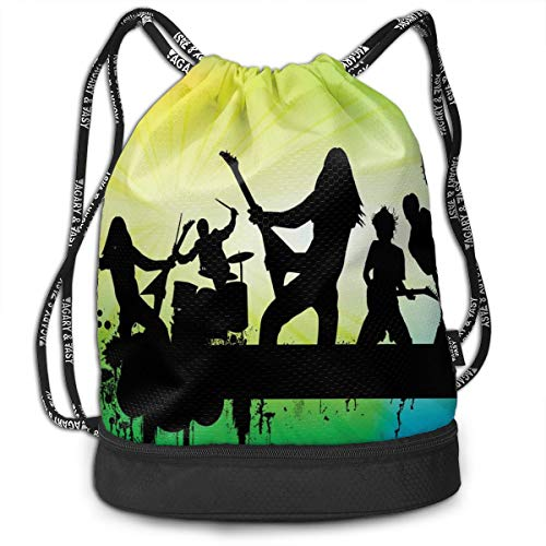 Printed Drawstring Backpacks Bags,Energetic Rock Band Silhouette On Colorful Background Music Theme Print,Adjustable String Closure - Rock Band Silhouette