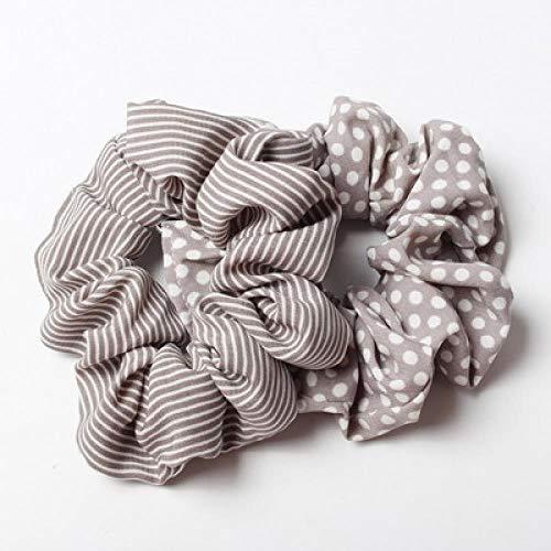 YOGER Haarband 2 Stück/Charge Streifen Und Dot Flare Schal Heißen Pferdeschwanz Inhaber Haarband Haaransatz Krawatte Armband Weiblich, Braun -