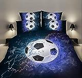 SleepHope 2019 Nuevo Mejor Suave y cómoda Cama Fija 2/3pcs 3D Duvet Cubierta Cama Hoja Almohada Casos Llama,Football,150 * 210(2PCS)