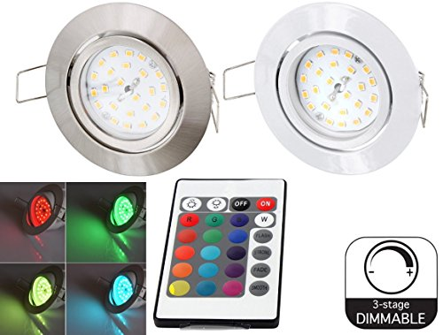 Farbe Spot (LED RGB Slim Spot Einbaustrahler 230V schwenkbar - mit Fernbedienung - Farbwechsel - 3-stufig dimmbar (eisen-gebürstet))