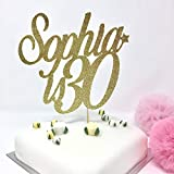 Personalised Name is Age Birthday Cake Topper. 18, 20, 21, 30, 40, 50, 60, 70, 80, 90, 100 age birthday party.