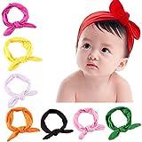 Frcolor 8pcs recién nacido niños niñas orejas de conejo diadema turbante  arco nudo diadema 050fe3ce621