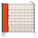 Rete pollame VOSS.farming farmNET per recinzioni elettrificabili , 112 cm di altezza e 50 m di lunghezza, a punta doppia, dotata di 16 pali, colore arancione