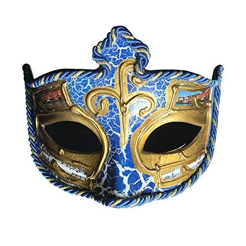 ZjkMr Halloween Venezianische Maske Halbes Gesicht Männer und Frauen Karneval Party Retro Maske Maskerade Maske Requisiten Eine 17,5 cm X 10 cm
