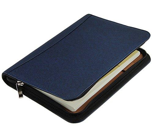 Polyurethan-Leder, Reißverschluss, Taschenrechner, Woche, Tag, Planer, Geldbörse, Kartenhalter, spiralgebunden, liniert A5, Blue ()
