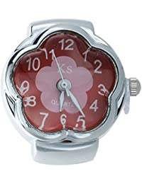SODIAL(R) Reloj de Anillo Cuarzo Aleacion Plateado Esfera Roja Flor para Mujer