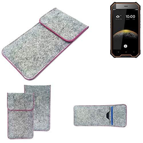 K-S-Trade® Filz Schutz Hülle Für -Blackview BV4000 Pro- Schutzhülle Filztasche Pouch Tasche Case Sleeve Handyhülle Filzhülle Hellgrau Pinker Rand