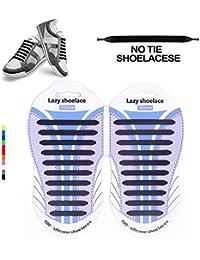 Cordoneras elásticas para calzado de la marca Hickies (Azul marino/Plateado) - talla unica W0lUs