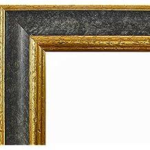 Marco Charleston 92 x 44 cm madera maciza, marci pomposo de alta calidad 44 x 92 cm, color seleccionado: oro negro con vidrio acrílico antirreflector 1 mm