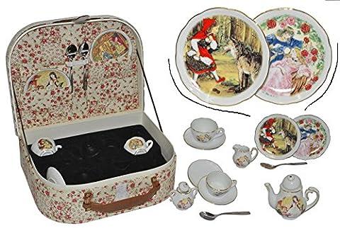 22 tlg. Set Picknick Korb für Kinder - Porzellan / Keramik - Kindergeschirr Kinderservice / Puppengeschirr Picknickkorb Reutter Gebrüder Grimm (Porzellan Spielzeug)