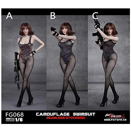 SZDM 1/6 Nahtlose Strumpfhosen Camouflage Badeanzug Set Action Doll Apparel Für HT VERYCOOL TTL Play PHICEN (A) -