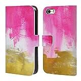 Head Case Designs Offizielle Mai Autumn Pink Und Gold Abstrakt Brieftasche Handyhülle aus Leder für iPhone 5 iPhone 5s iPhone SE