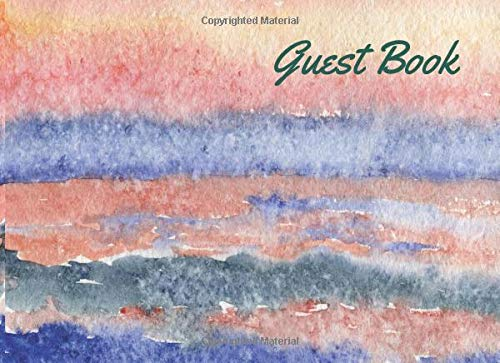 Waterfront Cottage (Guest Book: Lined Guestbook With Prompts - For a Coastal B and B, Beach House, Vacation Home, Guest Room, Waterfront Condo, or Cottage Rental - Sunset Over Ocean Watercolor Cover Design)