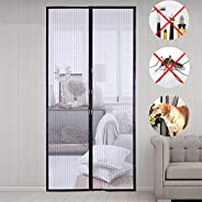 Magnetic Screen Door,with Heavy Duty Mesh Curtain,100 x 210 cm,prevent mosquitoes, bugs, flies, insects for wood,iron alumin