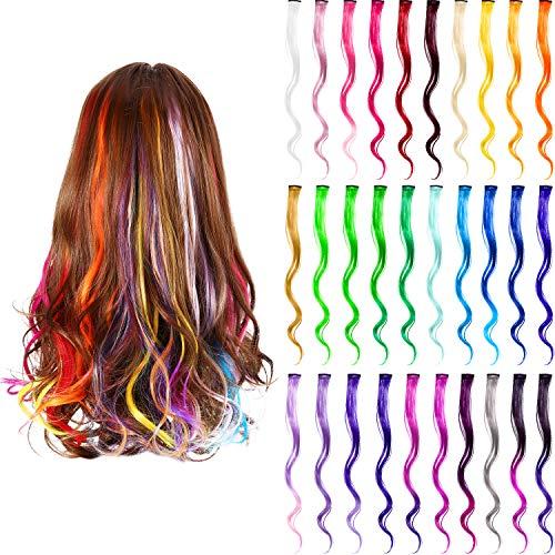 30 Stück Party Höhepunkte Bunt Clip in Synthetischen Haarverlängerungen, 21,6 Zoll Lang, Hitzebeständige Synthetische Haarverlängerungen in Mehreren Farben (Stil B) 21,6