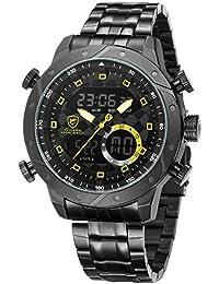 SHARK hombre deportivos Cuarzo relojes de pulseras Acero inoxidable LCD Cronógrafo Despertador SH593