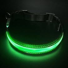 LED Collar para Perros, LaRooTM Intermitente Llevó Collar de Seguridad para Perros de LED de Nylon Luminous Que Brilla en la Noche Collar Brillante de Seguridad para Los Perros - M( 40-50CM)