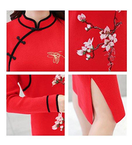 ALUK- Stile cinese - Maglione basa la camicia spessa Autunno Inverno Cheongsam vestito dal maglione a manica lunga ( colore : Rosso , dimensioni : S. ) Rosso