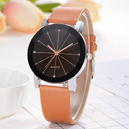 Promotions - Man Watch, Casual Sports Quartz Watch - Leather Band Strap Watch - Fashion Analog Wrist Watch (Braun)