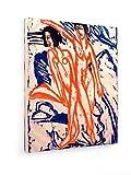 Ernst Ludwig Kirchner, Zwei Badende am Strand - 40x50 cm - Textil-Leinwandbild auf Keilrahmen - Wand-Bild - Kunst, Gemälde, Foto, Bild auf Leinwand - Alte Meister/Museum