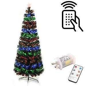 Shatchi 6054-FIBRE-OPTIC-REMOTE-TREE-7FT Árbol de Navidad de fibra óptica LED con luces y mando a distancia, 8 efectos de fuegos artificiales, decoración de Navidad, 210 cm, color verde
