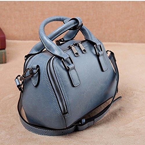 Doppia cerniera singola borsa tracolla/tendenza moda semplice cera olio cuoio quadrato piccolo sacchetto di Borsette vintage,Nero Blu