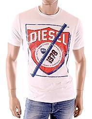 Diesel - T-Shirt homme Shielded blanc coupe droite
