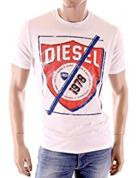 Diesel - T-Shirt homme Shielded blanc coupe droite